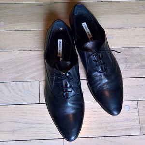 New Black Leather Lace up oxford women shoes